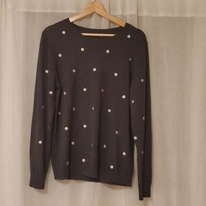 JCrew Mercantile gray sweater with silver dots L